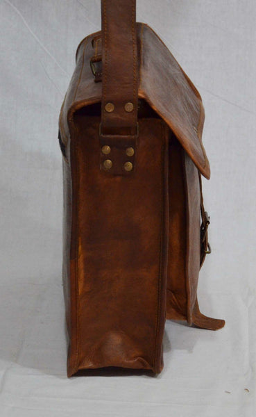 vintage leather laptop shoulder bag