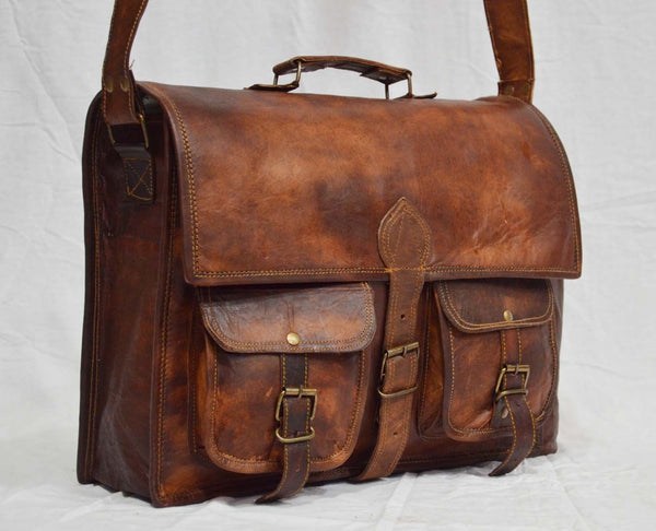 "Handmade Vintage Leather Briefcase for Men & Women. 11"" x 15"" x 4"""