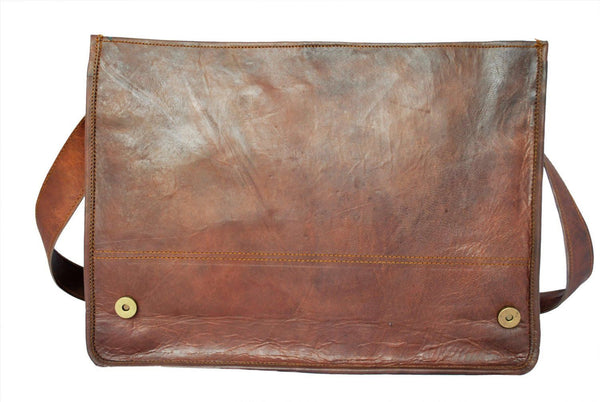 "Vintage Leather Messenger Bag for Men & Women 11"" x 15"" x 3.5"""