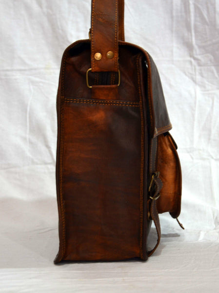 handmade vintage leather ladies laptop bag