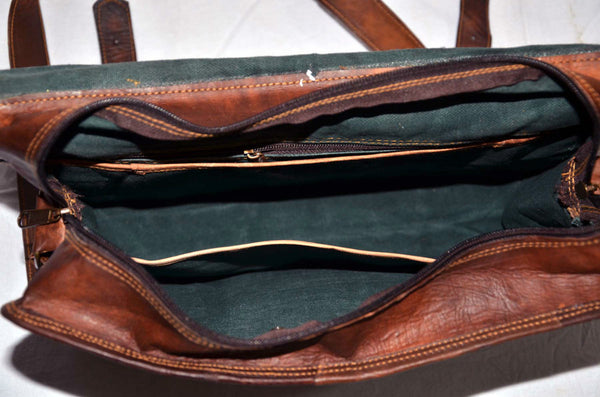 vintage leather handmade messenger bag for men
