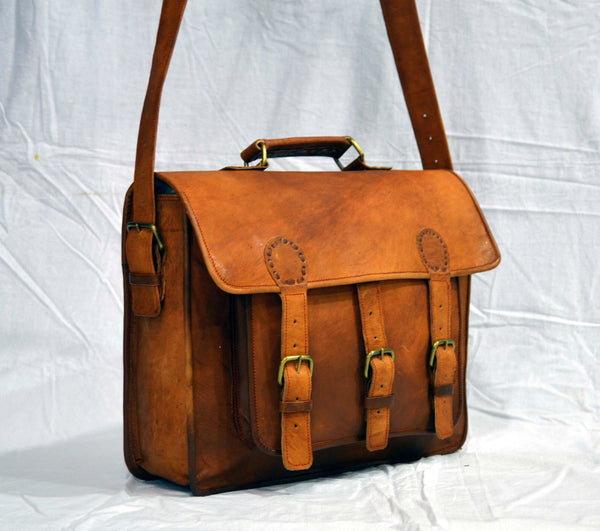 handmade genuine leather laptop  messenger bag for women