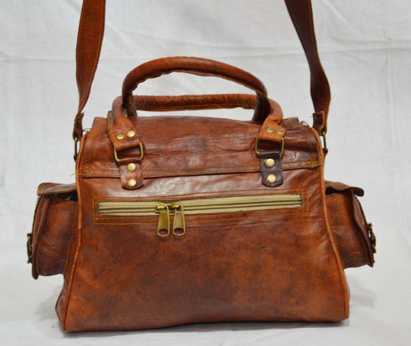 Women's vintage lather satchel side view
