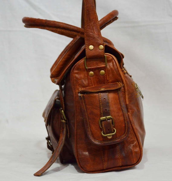 "Handmade Vintage Leather Satchel Bag for Women. 9"" x 12"" x 4"""