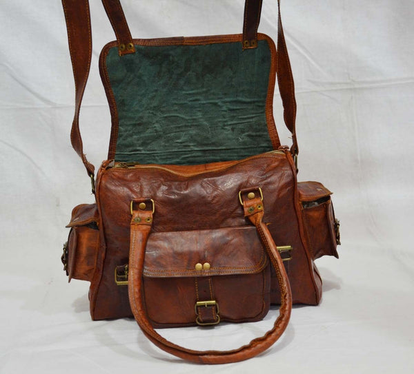 Vintage leather satchel with open flap