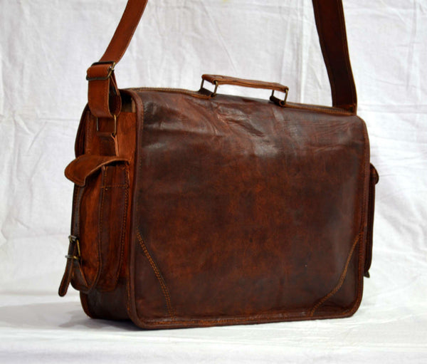 genuine leather vintage style satchel