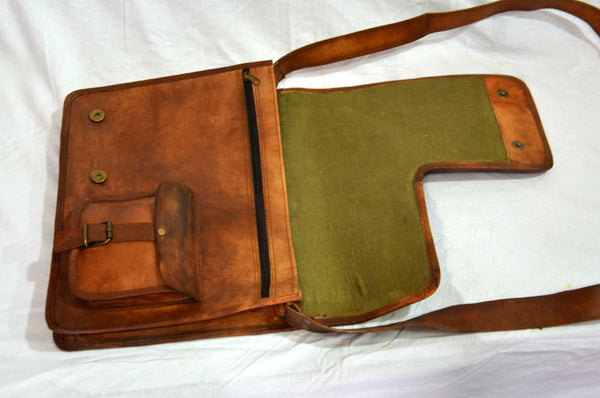 "Vintage Leather Messenger Bag for Men & Women 11"" x 15"" x 4.5"""