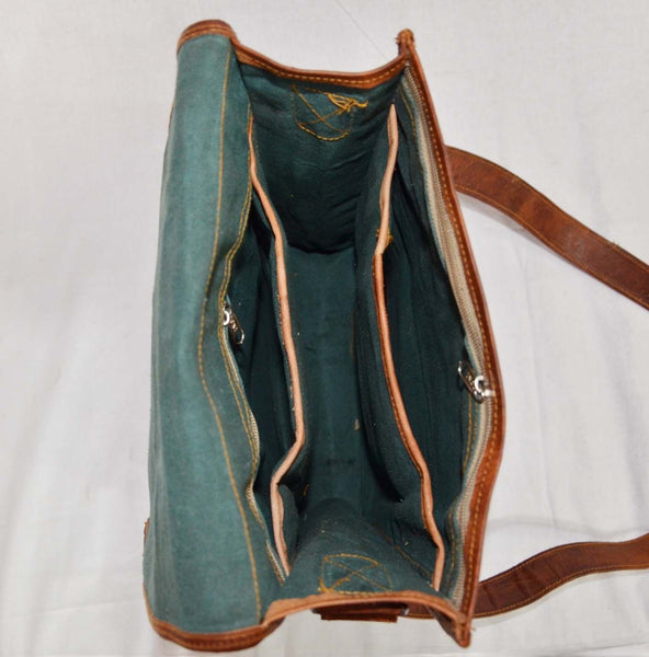 leather messenger bag inside