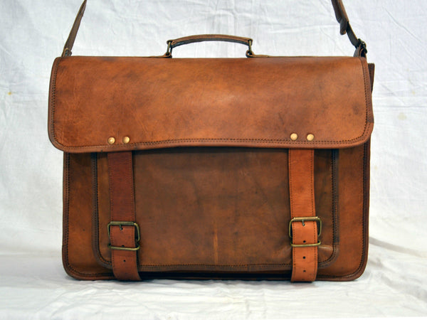 vintage leather laptop bag for men and women