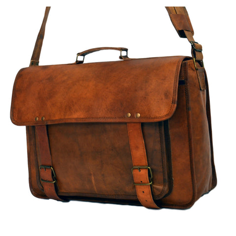 mens handmade real leather vintage laptop bag