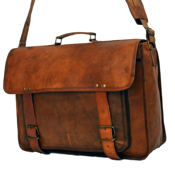 handmade vintage leather laptop bags  for men