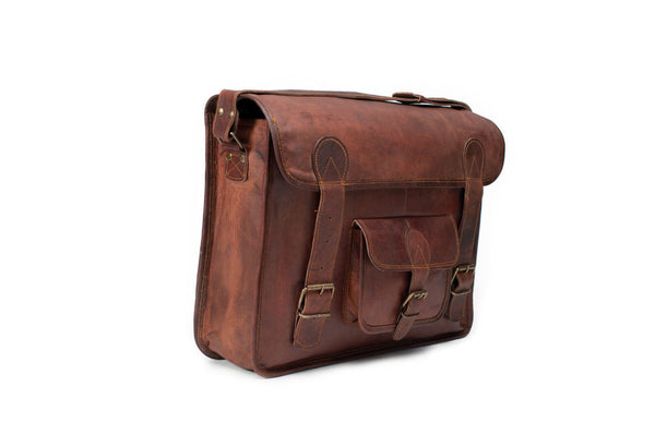 handmade vintage leather laptop satchel