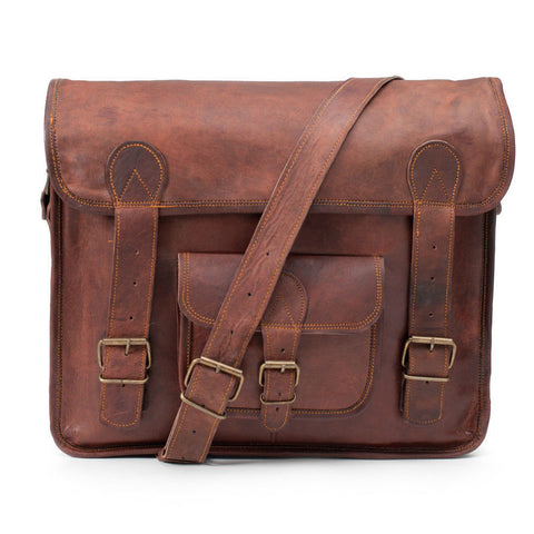 handmade leather satchel vintage