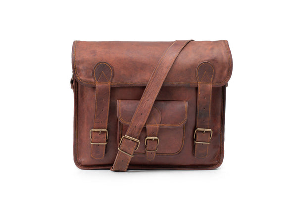 vintage leather satchel for men and women