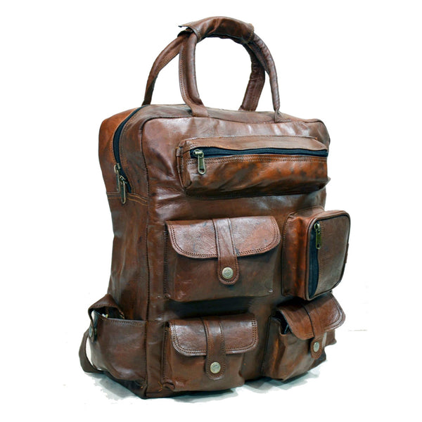"Vintage Leather Rucksack, Backpack with Large Pockets, 12"" x 16"" x 6"""