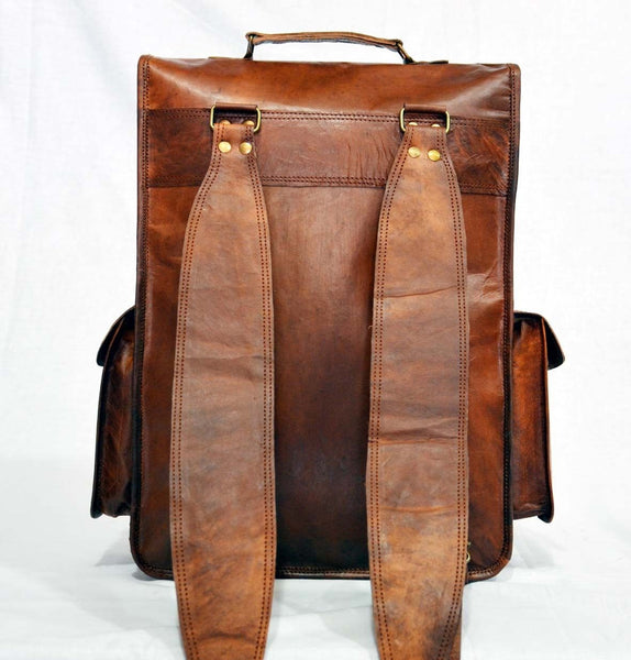 handmade vintage leather rucksack