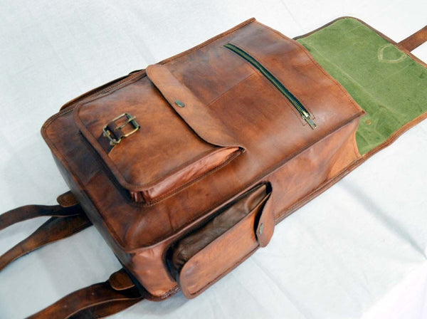 vintage handmade leather rucksack