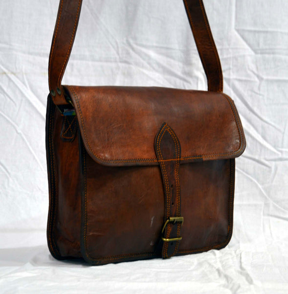 "Handmade Vintage Leather Satchel Bag and Briefcase 9"" x 11""  x 3"""