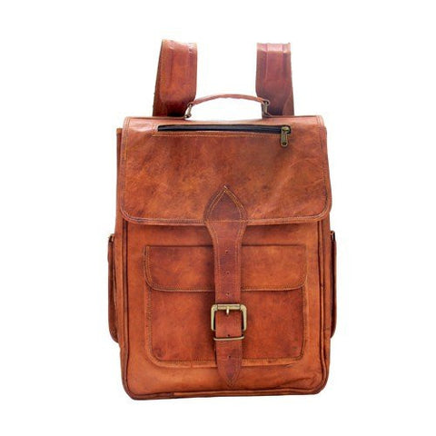 "Vintage Leather Rucksack Backpack with Large Pockets, 11"" x 15"" x 3.5"""