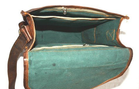 "Vintage Leather Briefcase and Messenger Bag 11"" x 15"" x 4""."
