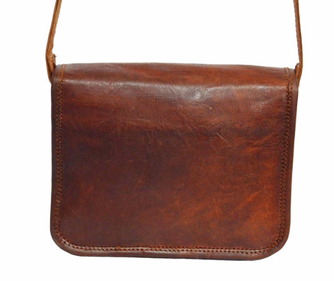 "Vintage Leather Handmade Small Messenger Bag  9"" x 7"" x 2.5"""