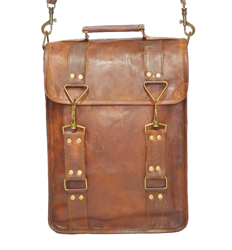 "Vintage Leather Briefcase and Messenger Bag 11"" x 15"" x 4"""