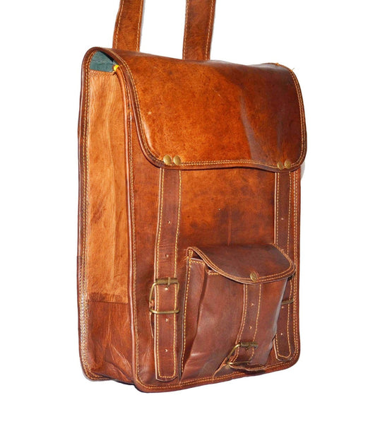 "Vintage Leather Rucksack Backpack with Large Pockets, 10"" x 13"" x 4"""