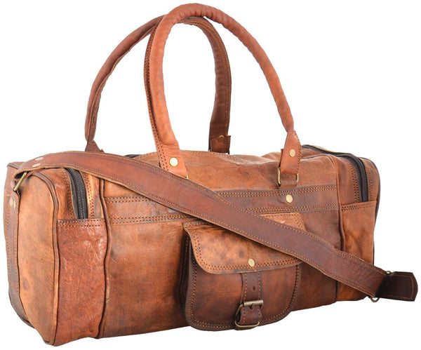 "Vintage Leather Travel Bag for Men and for Women. 18"" x 7"" x 6"""