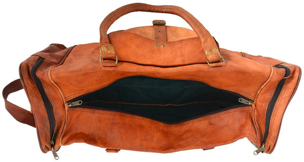 "Vintage Leather Travel Bag for Men and for Women. 28"" x 12"" x 11"""