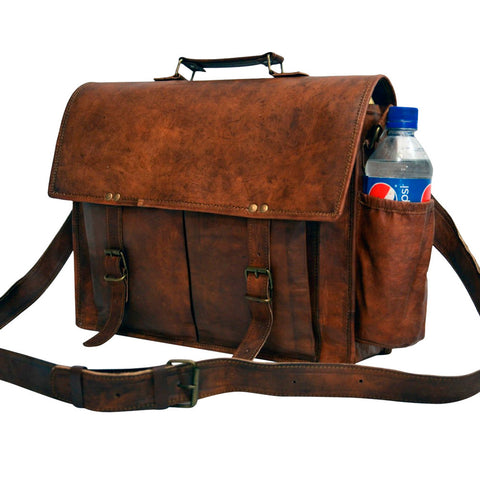 Handmade vintage leather messenger laptop bag
