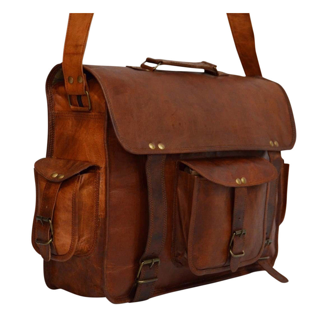 vintage leather handmade messenger and laptop bags for men