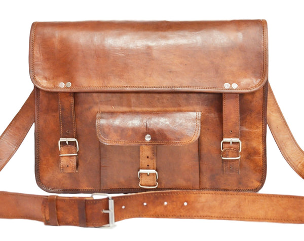 mens handmade leather satchel