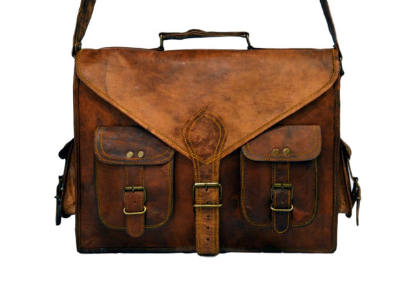 real vintage leather style  handmade  laptop messenger briefcase