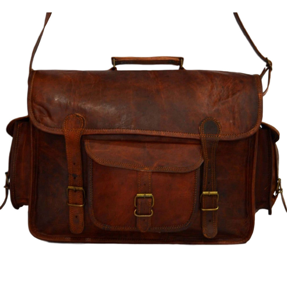 vintage leather laptop satchel