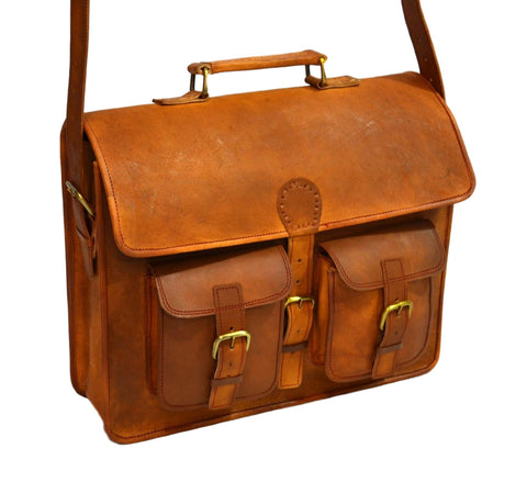 handmade vintage leather laptop bag for  men