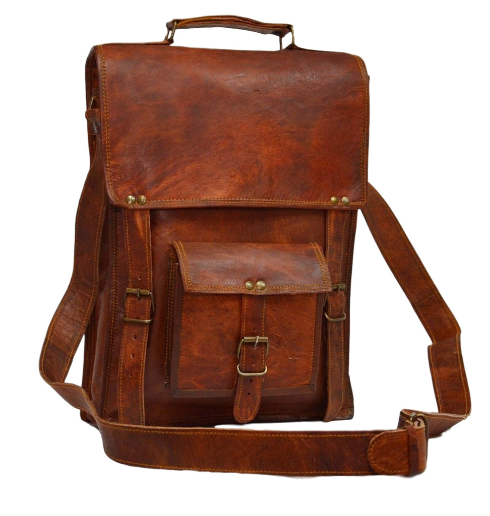 Vintage leather messenger laptop bag