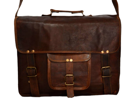 vintage leather handmade messenger bag