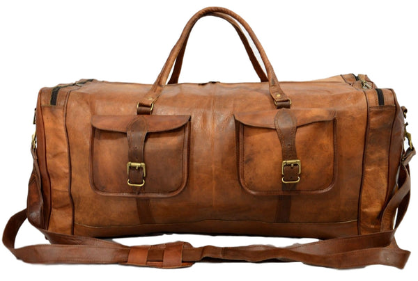 genuine leather travel luggage