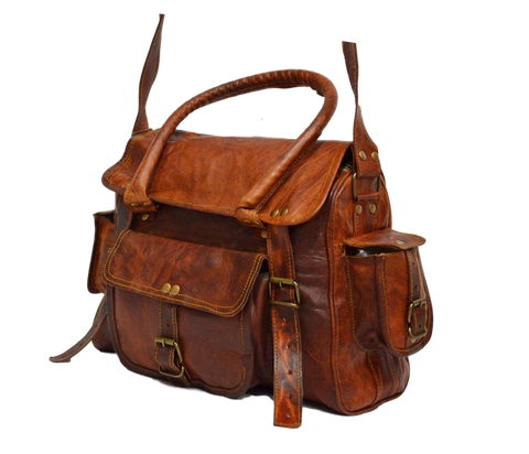 Brown vintage leather satchel for men and women