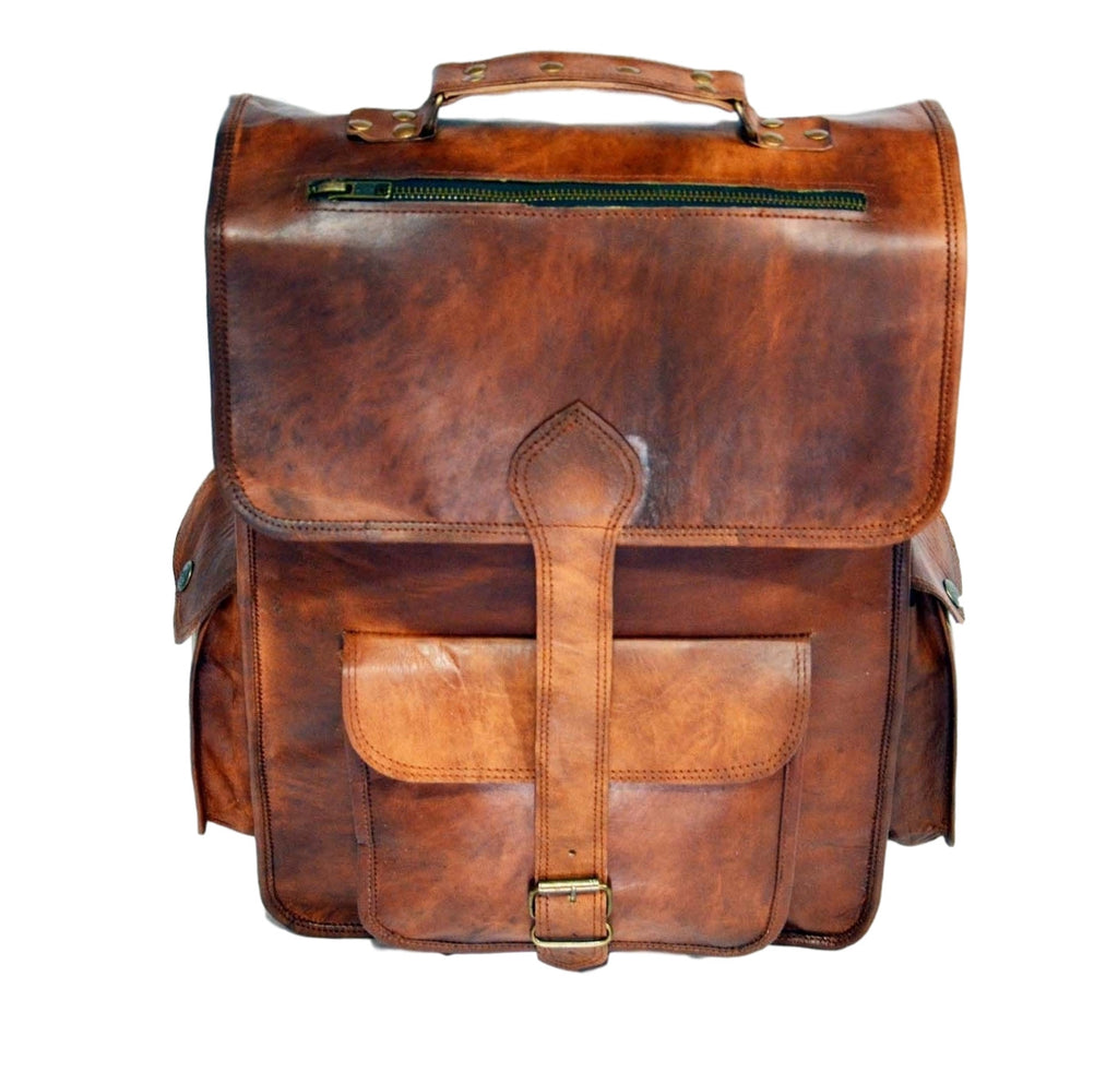 vintage leather laptop rucksack back pack. Black Bedroom Furniture Sets. Home Design Ideas