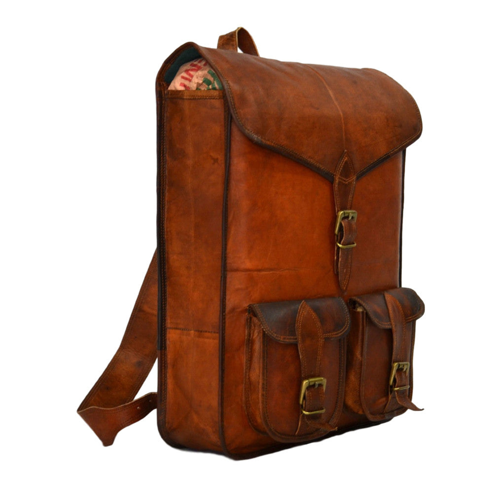 handmade vintage leather rucksack backpack