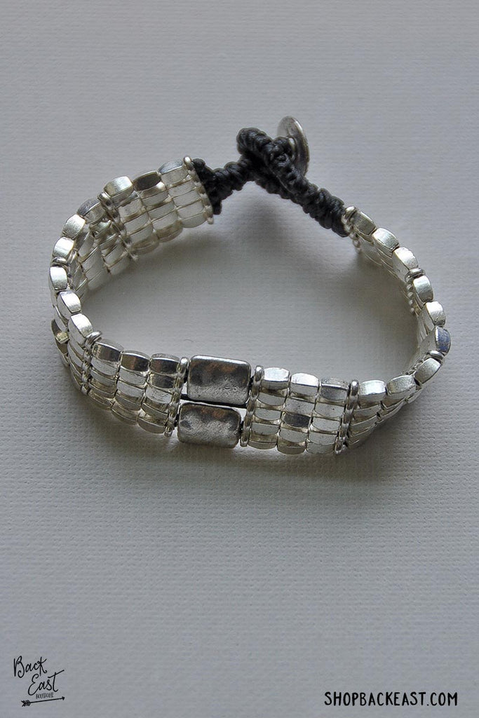 Double Rectangle Silver Bracelet