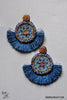Navi Beaded Fan Earrings - Blue