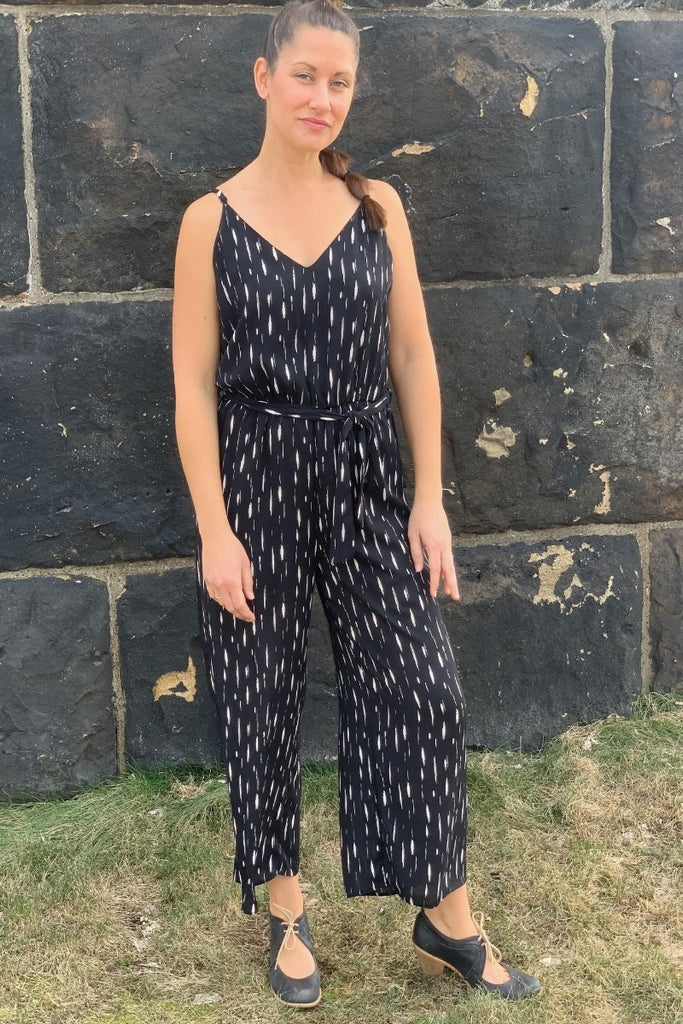 Black and White Cropped Jumpsuit