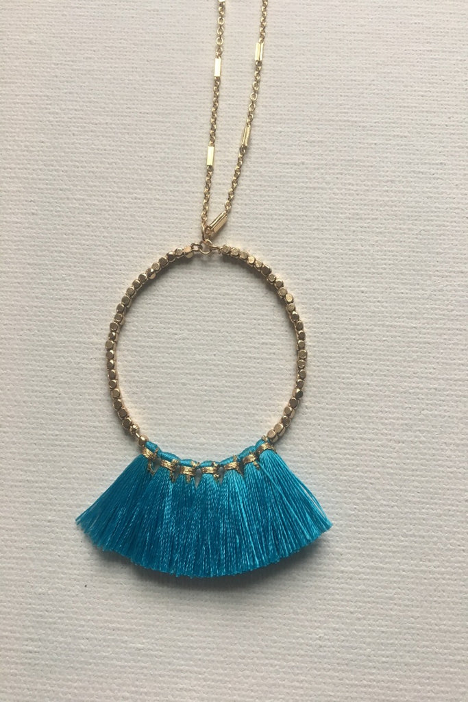 Gold Beaded Hoop Necklace with Fabric Tassels - Blue
