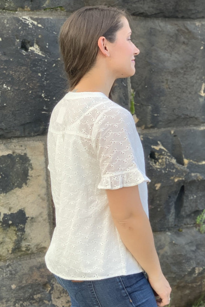 Eyelet Button Up Top