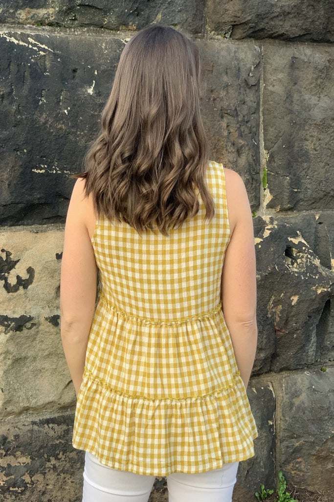 Plaid Sleeveless Top - Mustard/White