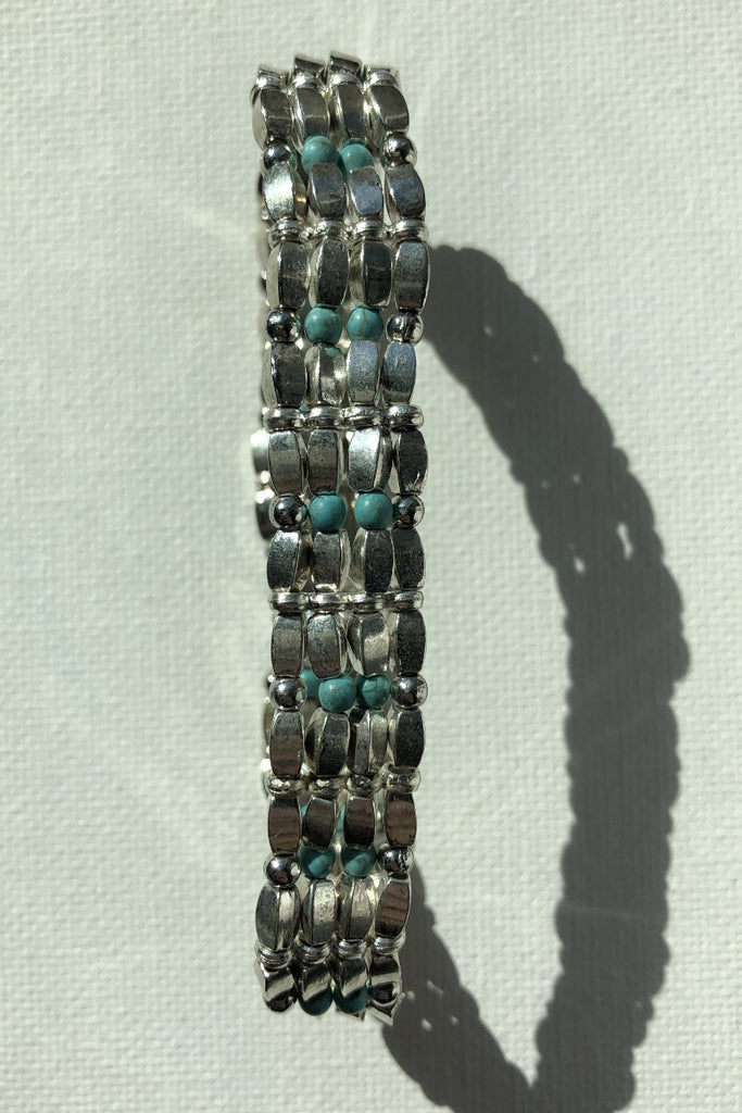 Silver and Turquoise Stretch Bracelet