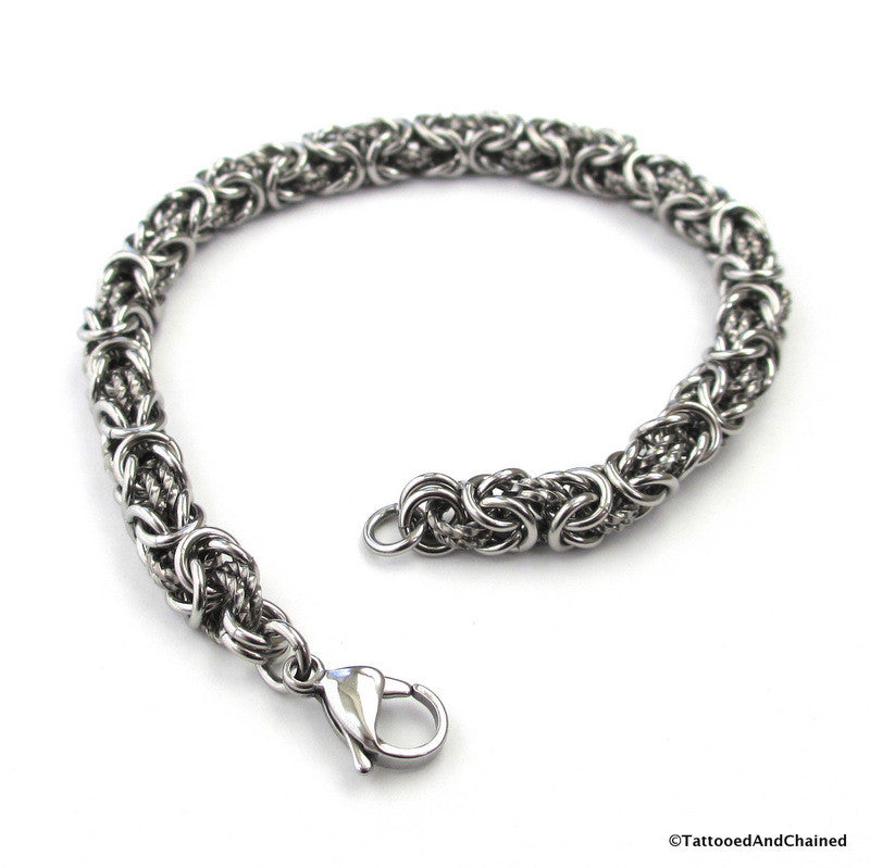Stainless steel chainmaille bracelet, Byzantine weave with twisted links - Tattooed and Chained Chainmaille  - 1