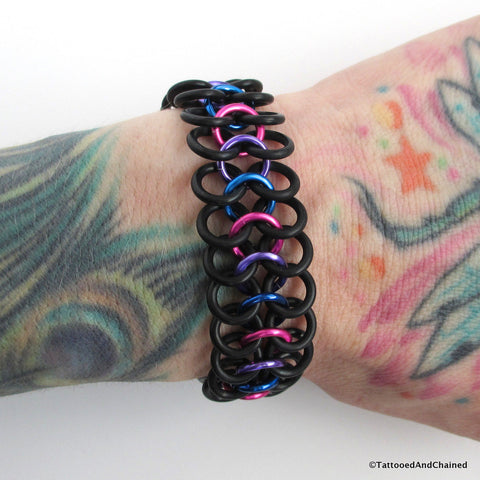Bisexual pride stretchy bracelet, chainmaille Euro 4 in 1 weave - Tattooed and Chained Chainmaille  - 1